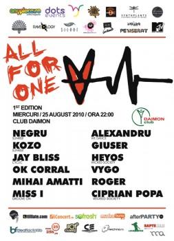 All For One 1st Edition la Daimon Club din Bucureşti