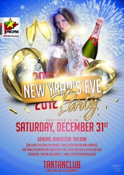 New Year's Eve Party 2012 în Tan Tan Club din Bucureşti