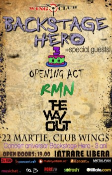 Concert aniversar Backstage Hero în Wings Club din Bucureşti
