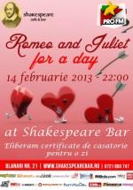 Romeo and Juliet for a Day în Shakespeare Bar din Bucureşti