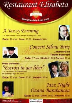 Concerte Berti Barbera, Silviu Biris şi Ozana Barabancea la Restaurant Elisabeta din Bucureşti