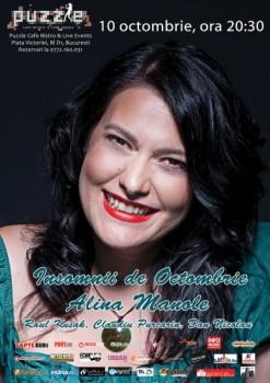 """Concert Alina Manole – """"Insomnii de octombrie"""" în Club Puzzle din Bucureşti"""