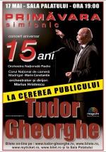 """Concert Tudor Gheorghe – """"Primăvara simfonic aniversar"""", la Sala Palatului din Bucureşti"""