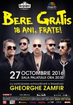 """Concert aniversar Bere Gratis – """"18 ani, frate!"""" la Sala Palatului din Bucureşti"""