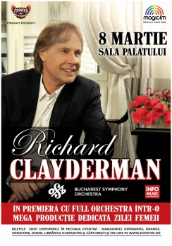 Concert Richard Clayderman & Orchestra Simfonică Bucureşti la Sala Palatului din Bucureşti